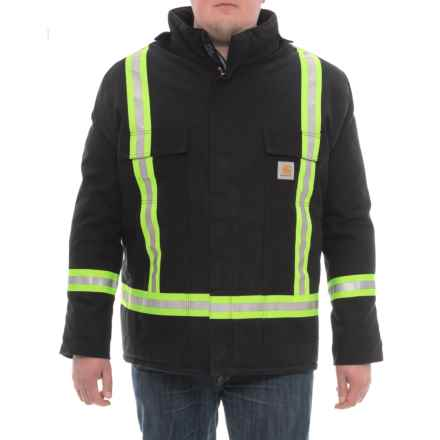 Carhartt High-Visibility Striped Quilt-Lined Duck Coat - Insulated, Factory 2nds (For Men) in Black - 2nds