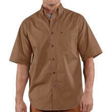 Carhartt Hines Solid Shirt - Cotton Twill, Short Sleeve (For Tall Men) in Frontier Brown - 2nds