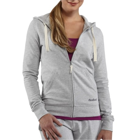 Carhartt Hooded Track Jacket - Stretch Cotton (For Women) in Heather Grey