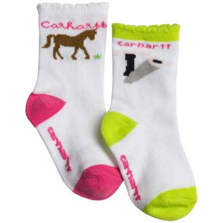 Carhartt Horse Socks - 2-Pack, Crew (For Infant and Toddler Girls) in White/Green - Closeouts