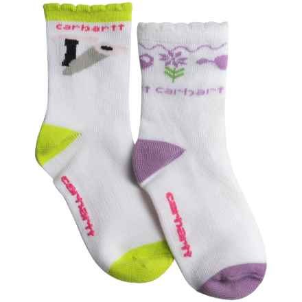 Carhartt Horse Socks - 2-Pack, Crew (For Infant and Toddler Girls) in White/Purple - Closeouts