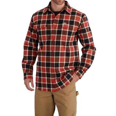 Carhartt Hubbard Flannel Plaid Shirt - Long Sleeve (For Men) in Chili - Closeouts