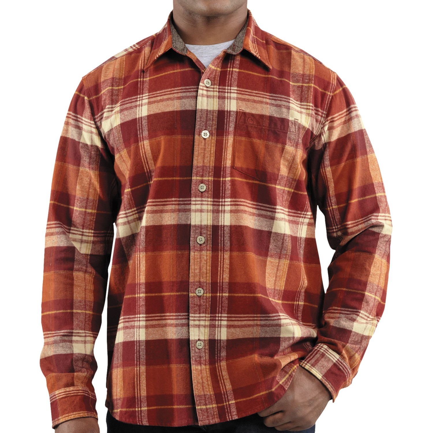 carhartt hubbard plaid flannel shirt slim fit long