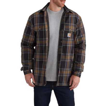 Carhartt Hubbard Sherpa-Lined Shirt Jacket (For Big and Tall Men) in Black - Closeouts