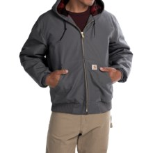 Carhartt Huntsman Active Jacket - Insulated and Flannel Lined (For Men) in Gravel/Dark Crimson Plaid - 2nds