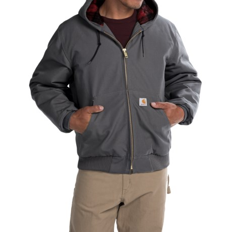 Carhartt Huntsman Active Jacket - Insulated and Flannel Lined (For Men) in Gravel/Dark Crimson Plaid