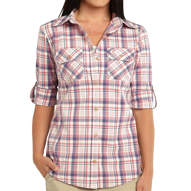 carhartt huron plaid shirt 3 4 sleeve for women
