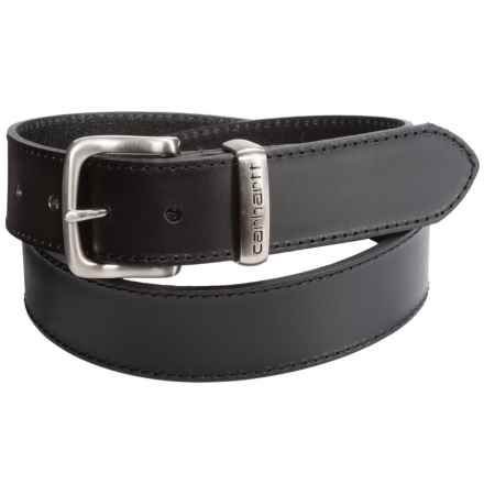 Carhartt Jeans Leather Belt - Metal Keeper (For Men) in Black - Closeouts