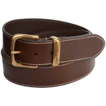 Carhartt Jeans Leather Belt - Metal Keeper (For Men) in Brown - Closeouts