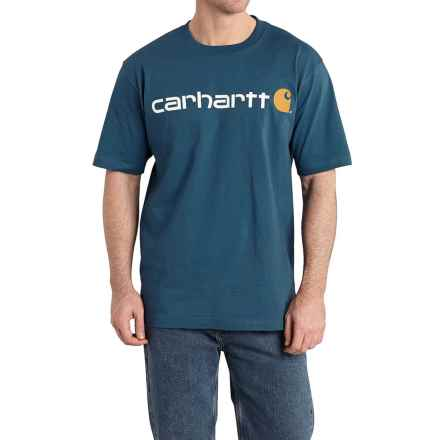 Carhartt Jersey Knit Logo T-Shirt - Short Sleeve (For Men) in Stream Blue - 2nds