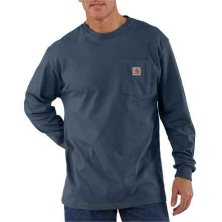 99c9d4a2 Carhartt K126 Workwear Pocket T-Shirt - Long Sleeve (For Men) in Bluestone