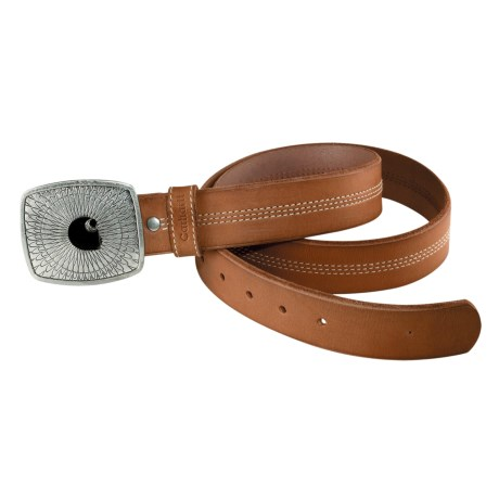 Carhartt Leather Logo Belt (For Women) in Nubuck