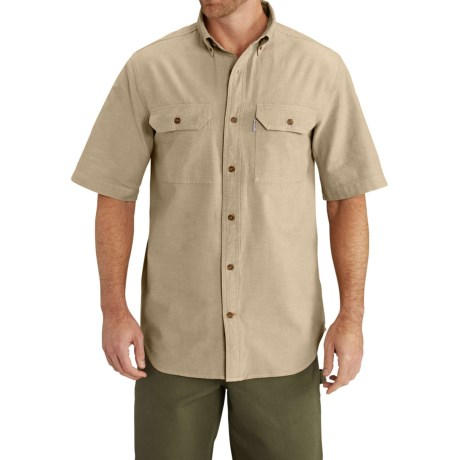 Carhartt Lightweight Chambray Shirt - Short Sleeve, Factory Seconds (For Big Men) in Dark Tan Chambray