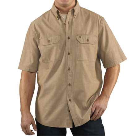 Carhartt Lightweight Chambray Shirt - Short Sleeve (For Tall Men) in Dark Tan Chambray - 2nds
