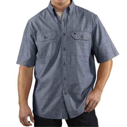 Carhartt Lightweight Chambray Shirt - Short Sleeve (For Tall Men) in Denim Blue Chambray - 2nds