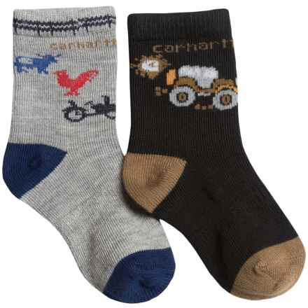 Carhartt Lightweight Socks - 2-Pack, Crew (For Infant and Toddler Boys) in Black/Grey - Closeouts