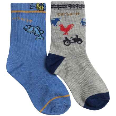 Carhartt Lightweight Socks - 2-Pack, Crew (For Infant and Toddler Boys) in Grey/Blue - Closeouts