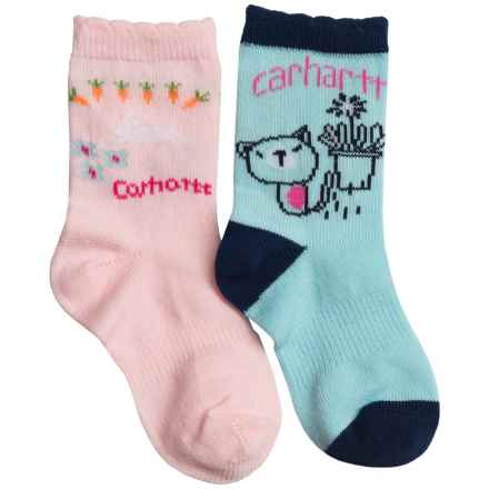 Carhartt Lightweight Socks - 2-Pack, Crew (For Infant and Toddler Girls) in Blue/Pink - Closeouts