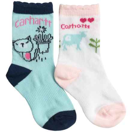 Carhartt Lightweight Socks - 2-Pack, Crew (For Infant and Toddler Girls) in White/Blue - Closeouts