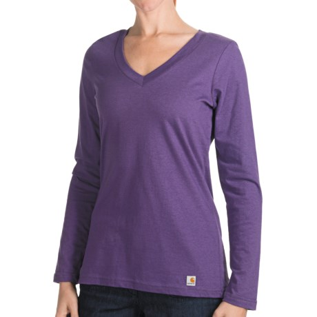 Carhartt Lightweight T-Shirt - V-Neck, Long Sleeve (For Women) in Faded Petal Heather
