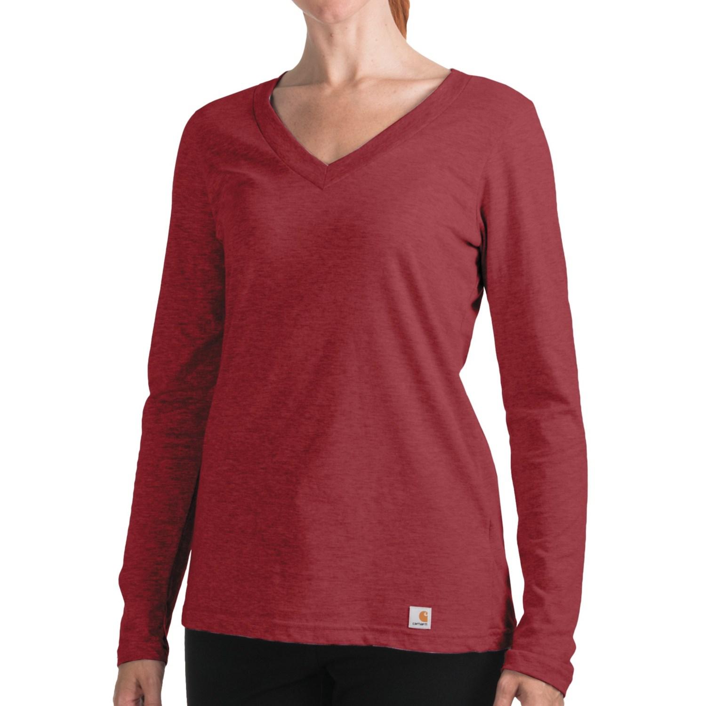 Carhartt Lightweight T Shirt V Neck Long Sleeve For Women