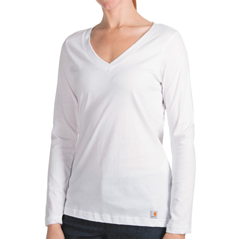 Carhartt lightweight t shirt v neck long sleeve for women for Long white v neck t shirt