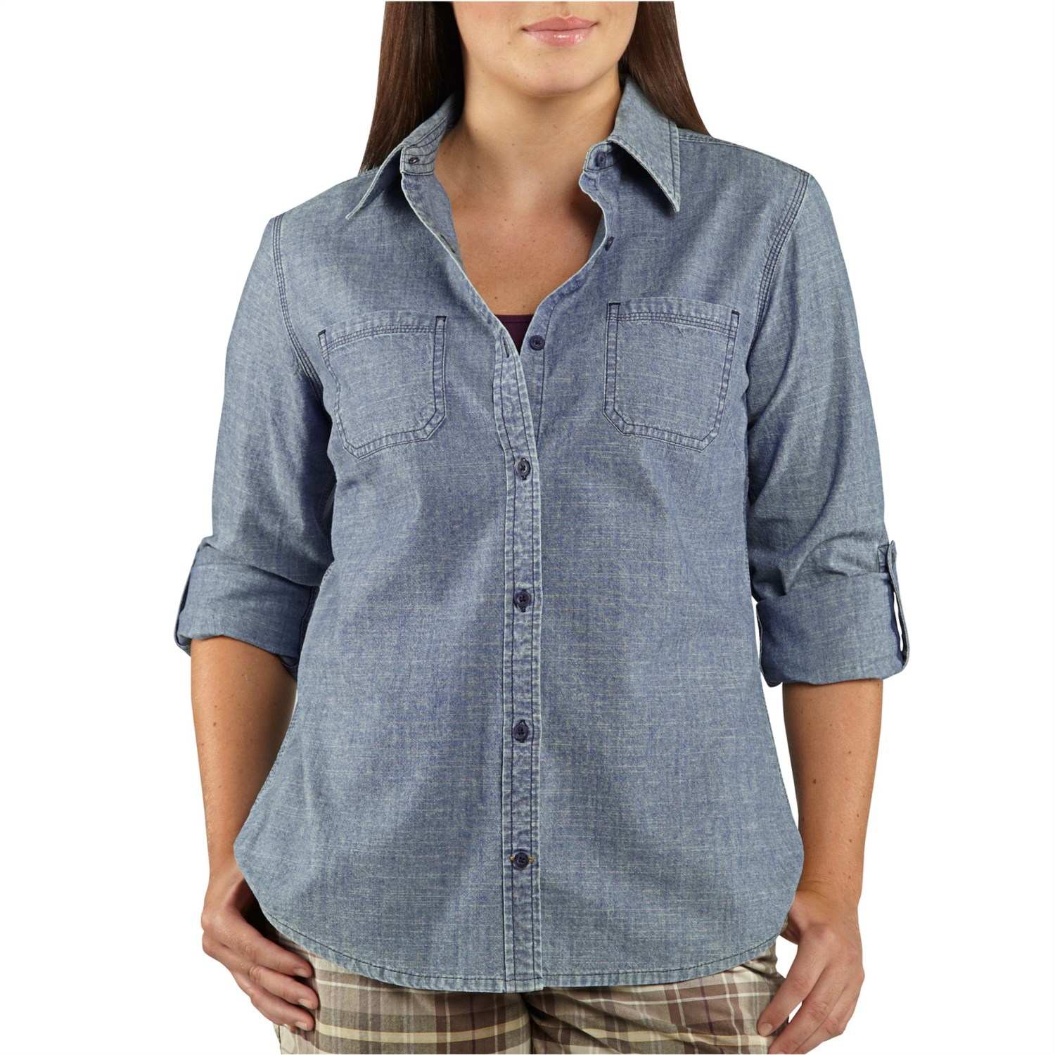 Carhartt linwood chambray shirt for women 6484x for Chambray long sleeve shirt
