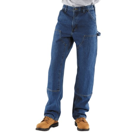 Carhartt Logger Jeans - Washed Denim - Double Knees (For Men) in Dark Stone Wash