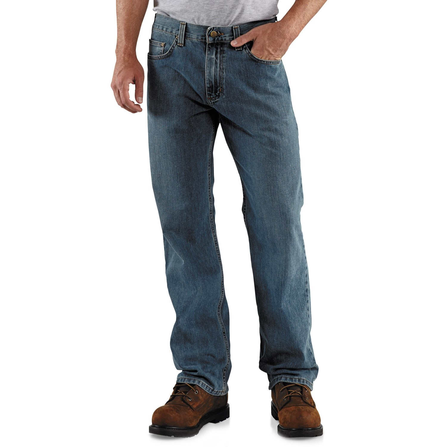 carhartt loose fit jeans straight leg for men in worn in blue. Black Bedroom Furniture Sets. Home Design Ideas