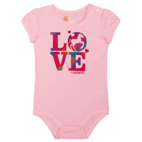 Carhartt Love Horses Baby Bodysuit - Short Sleeve (For Infants) in Pale Peony