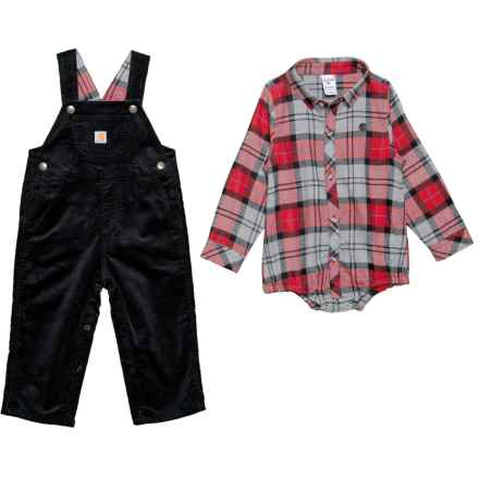 Carhartt Lumberjack Baby Bodysuit and Overalls Set - 2-Piece, Long Sleeve (For Infant Boys) in Caviar Black - Closeouts