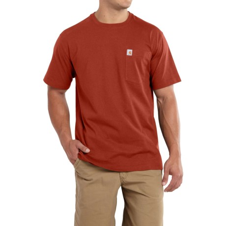 Carhartt Maddock Pocket T-Shirt - Short Sleeve (For Big and Tall Men) in Chili Heather