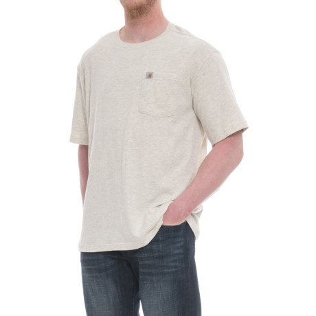 Carhartt Maddock Pocket T-Shirt - Short Sleeve (For Big and Tall Men) in Oatmeal Heather