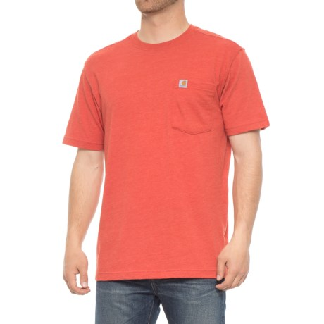 Carhartt Maddock Pocket T-Shirt - Short Sleeve (For Men) in Chili Heather