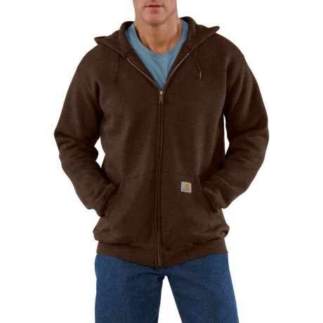 Carhartt Midweight Hooded Sweatshirt - Zip Front, Factory Seconds (For Tall Men) in Dark Coffee Heather