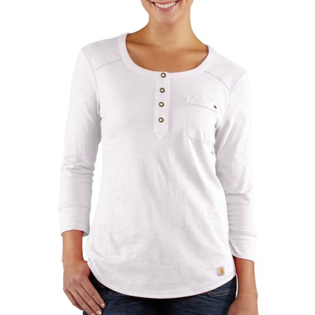 Carhartt Norfolk Henley Shirt - Cotton Slub, 3/4 Sleeve (For Women) in White