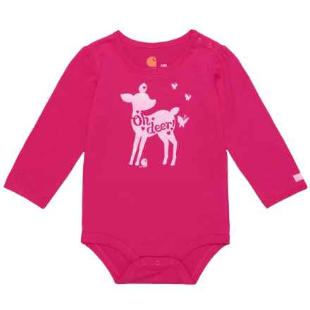 Carhartt Oh Deer Baby Bodysuit - Long Sleeve (For Infant Girls) in Bright Pink - Closeouts