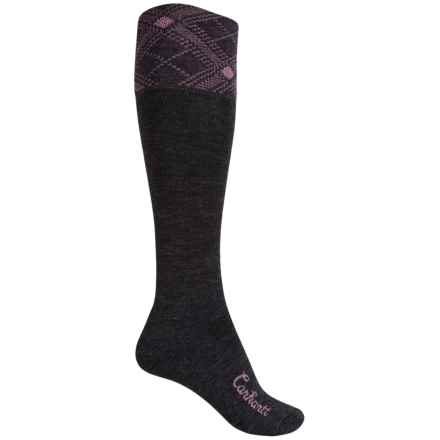 Carhartt Plaid Knee-High Cuff Socks - Over the Calf (For Women) in Charcoal Heather - Closeouts