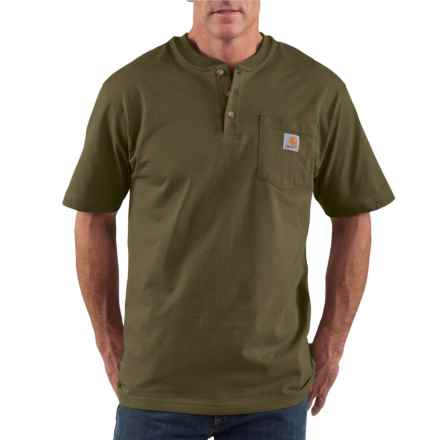 Carhartt Pocket Henley Shirt - Short Sleeve (For Tall Men) in Army Green - 2nds