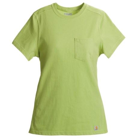 Carhartt Pocket T-Shirt - Short Sleeve (For Women) in Light Lime