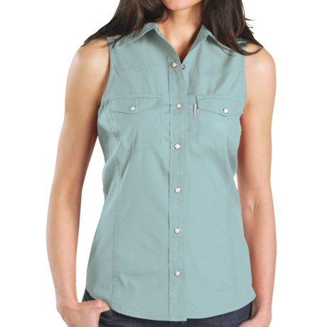 Carhartt Poplin Snap-Front Shirt - Sleeveless (For Women) in Aqua