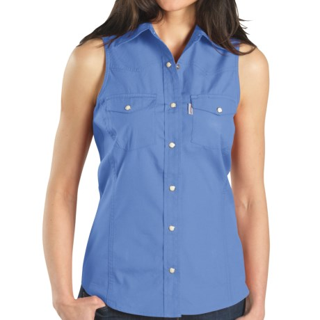 Carhartt Poplin Snap-Front Shirt - Sleeveless (For Women) in Bluebell