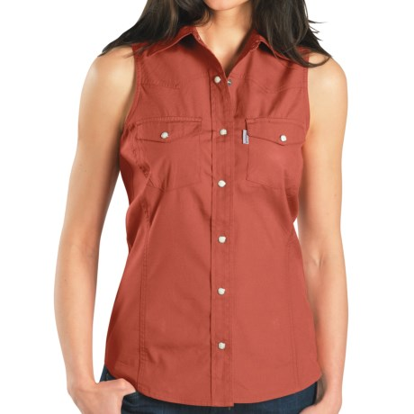 Carhartt Poplin Snap-Front Shirt - Sleeveless (For Women) in Vintage Rose