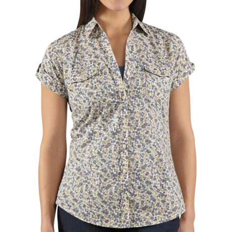 Carhartt Printed Camp Shirt - Short Sleeve (For Women) in Patriot Blue