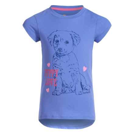 Carhartt Puppy Love T-Shirt - Short Sleeve (For Little Girls) in Light Blue - Closeouts