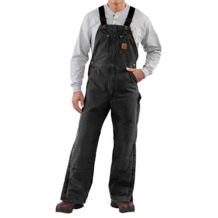 Carhartt Quilt-Lined Bib Overalls - Sandstone Duck, Factory Seconds (For Men) in Black - 2nds