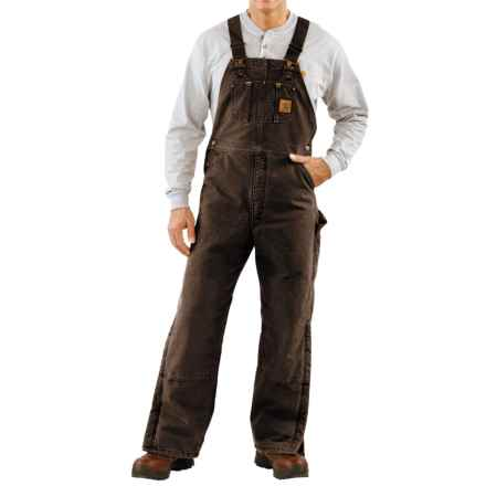 Carhartt Quilt-Lined Bib Overalls - Sandstone Duck, Factory Seconds (For Men) in Dark Brown - 2nds