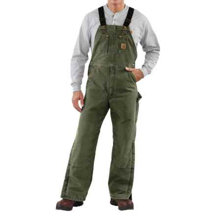 Carhartt Quilt-Lined Bib Overalls - Sandstone Duck, Factory Seconds (For Men) in Moss - 2nds