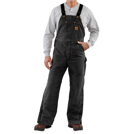 Carhartt Quilt-Lined Bib Overalls - Sandstone Duck (For Men) in Black