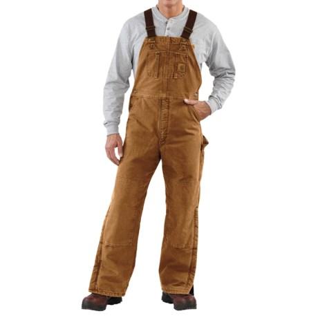 Carhartt Quilt-Lined Bib Overalls - Sandstone Duck (For Men) in Carhartt Brown